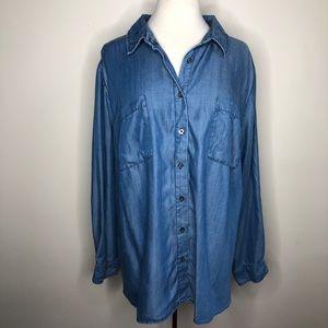 AVA & VIV light blue chambray button up tunic